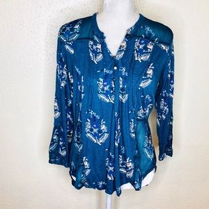 Lucky Brand Split Back Floral Tunic Top